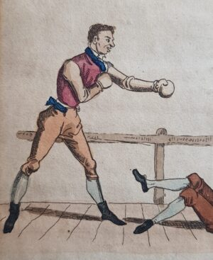 boxing engraving original boks prent 1835 gevecht fight england uk engeland united kingdom british classic gentleman boxing duel vintage original handcoloured handcolored antique engraving handgekleurde gravure originele original origineel boksen handfight handgevecht antiek art skoander.com