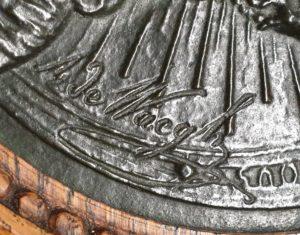 de waegh bronzen plaquatte devotionalia jezus christus ange de la paix descends sur nous engel van vrede kom op ons neer frankrijk france belgisch belgie rond eiken lijst skoander.com