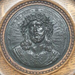 a de waegh plaquatte gesigneerd devotionalia jezus christus engel van vrede kom op ons neer bronzen muurhanger christelijke kunst belgisch skoander.comkoander.com