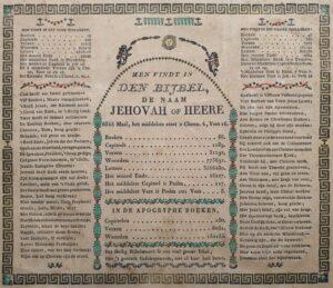 gravure engraving devotionalia 19e eeuw oudgekleurd handgekleurd bijbel devotionalia men vindt in den bijbel de naam jehovah of heere 6855 maal bijbelse gravure