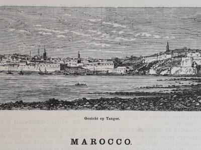 De aarde en haar volken 1883 Marocco Marokko staal gravure steel engraving antique antiek vintage pre 1900 Gezicht op Tanger skoander besit Skoander.com