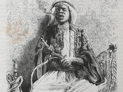 De aarde en haar volken 1883 Reize naar Nedsjd Stamland der Arabieren Nadjd Oman gravure engraving kunst art vintage antique print Djohar gouverneur van Djof skoander besit Skoander.com