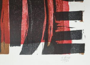 guido llinas woodcut art cuba pinar del rio france paris kunst woodcut houtsnede dark red meranti ;lijst framed frame signed gesigneerd fine art online gallery online art online kunst kopen cubaanse kunst cuban art pan american art skoander bisit lijstenmaker heerenveen kunsthandel abstract skoander.com