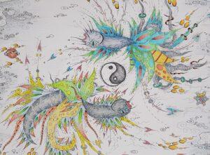thisa schut tekening kunst gemengde techniek friese kunst kunstschilder skoander bisit zegveld sneek kunstenaar schilder tekening yin yang art friesland woerden utrecht skoander.com