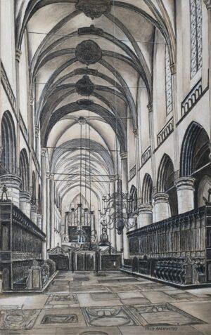 frederik rackwitsz schilderij tekening kerk kerkinterieur potloodtekening gemengde techniek skoander.com