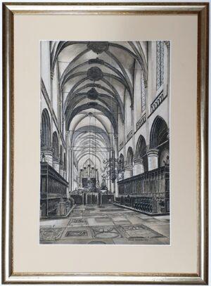 frederik rackwitsz tekening potloodtekening schilderij rotterdam den haag docent kerk kerkinterieur skoander.com