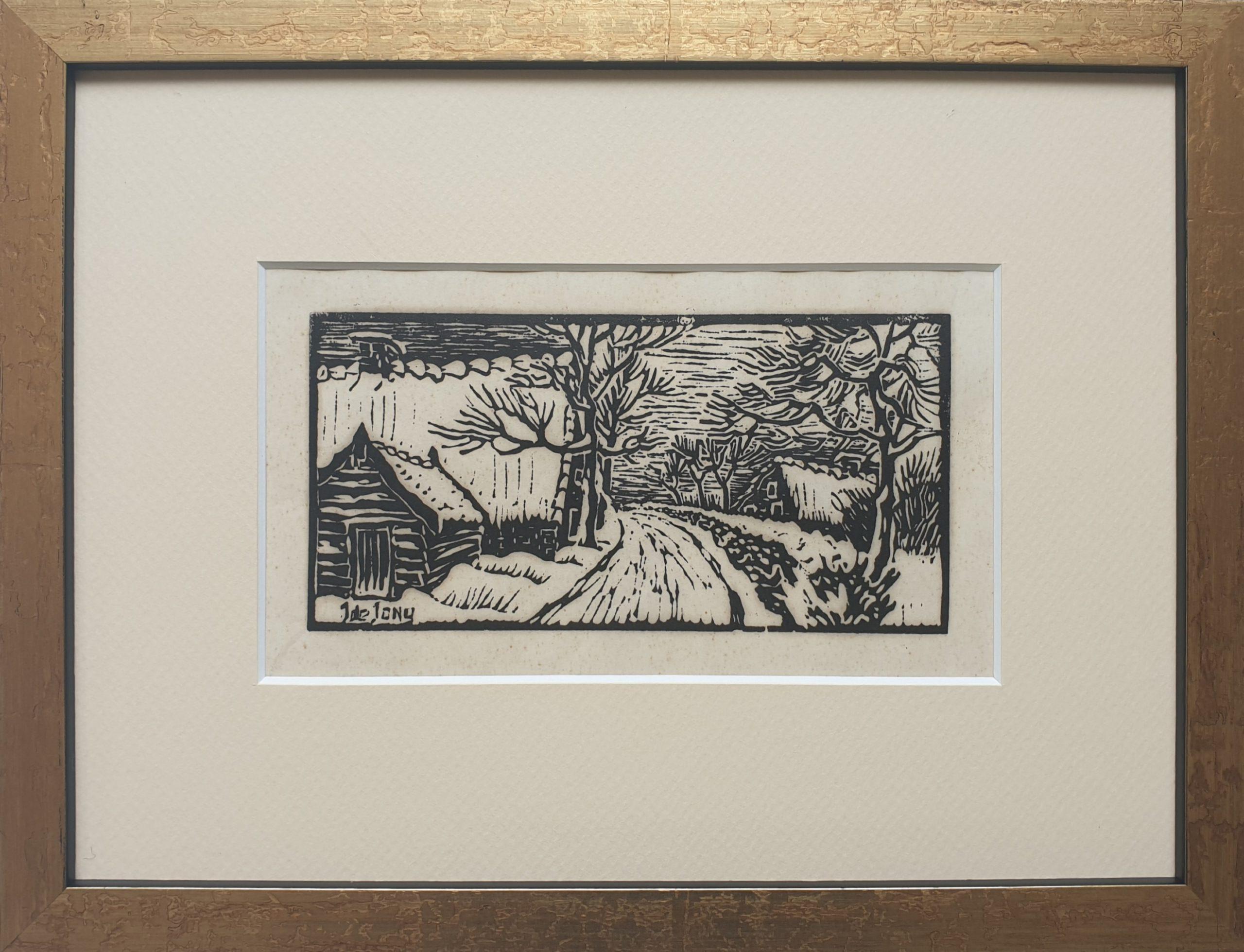 j de jong houtsnede houtdruk j de jons handdruk laantje boerderijen grafiek skoander.com