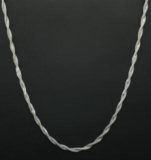 halsketitng zilver damesmodel gevlochten zilver vlecht gedraaid zilver ketting halsketting 925 zilver halsketting 925 zilver skoander.com