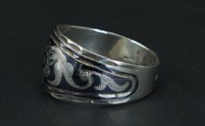875 niello silver ring ussr russia russian silver hallmark :4bhp russische ring zilver floral decoration niello ring floraal decor ring zilver 875 rusland skoander.com