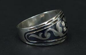 niello zilver ring rusland 875 zilver russisch zilver keurmerk :4bhp stempel niello floraal decor zilver skoander.com