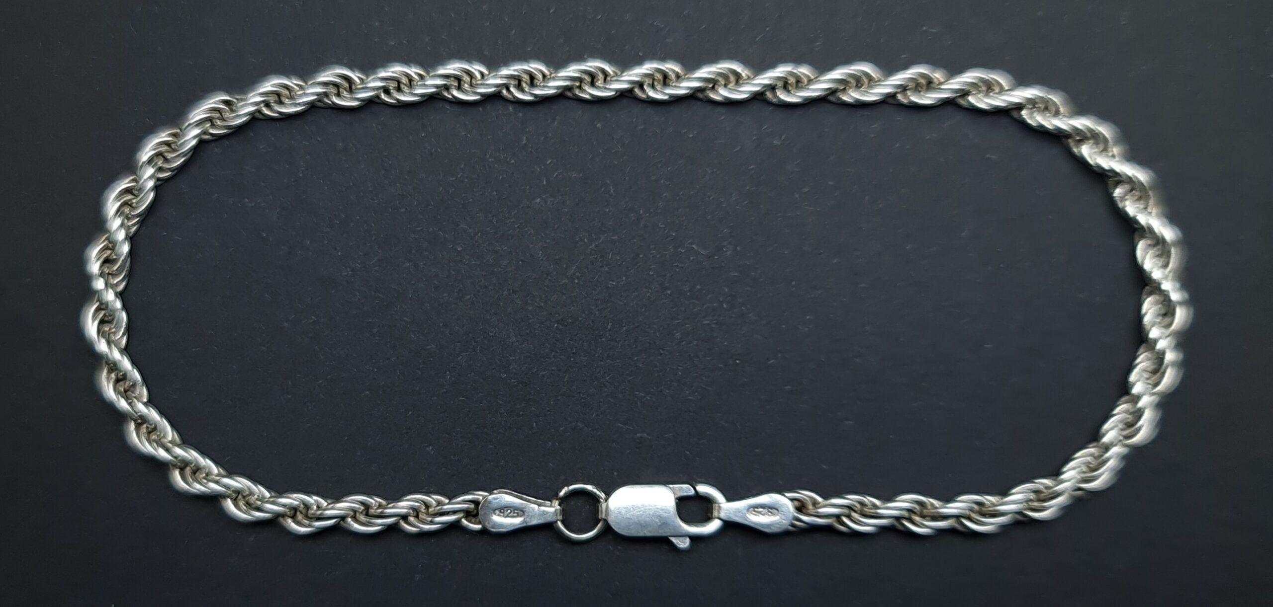 zilveren rope armband silver rope chain sterling silver rope bracelet sterling silver zilver armband gevlochten schakel touw schakel armband skoander.com