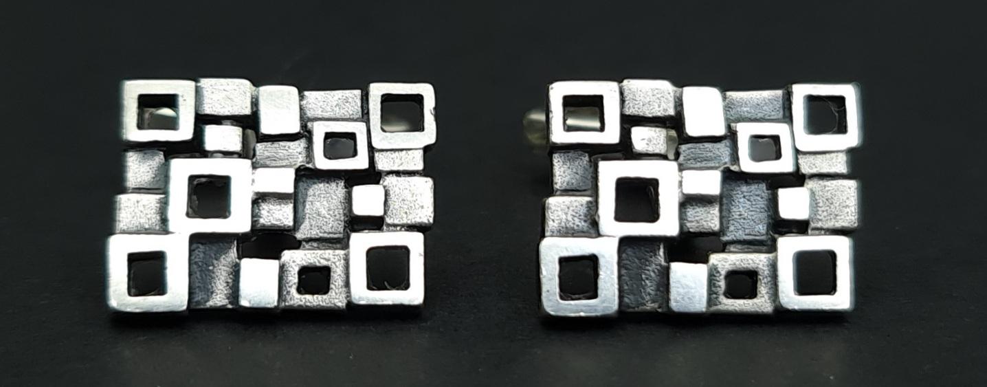 zilver manchetknopen 825 zilver jaren 70 manchetknopen 70s cufflinks square 825 silver zilveren manchetknopen jaren 70 blokjes skoander.com