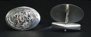 handgesneden manchetknopen zilver geciseleerde manchetknopen floraal decor italian silver cufflinks unieke manchetknopen zilveren manchet knopen skoander.com